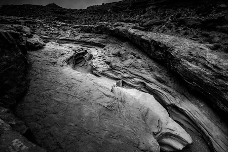 slot canyon: Little Wild Horse Canyon Black and White view from the top