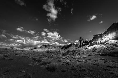 ut: Capitol Reef along UT 24, the Chimney Rock Black and White Stock Photo