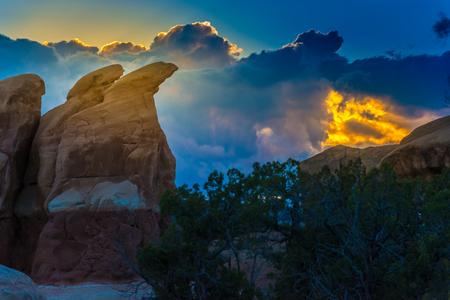 escalante: Devils Garden hoodoos after sunset, Grand Staircase Escalante National Monument, Utah