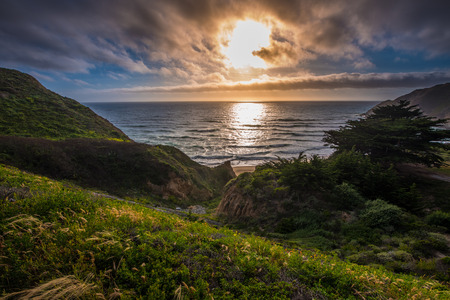 beach landscape: Gray Whale Cove State Beach California Landscape
