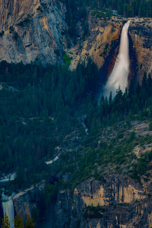 vernal: Nevada and Vernal Falls as seen from the Glacier Point Yosemite National Park California USA