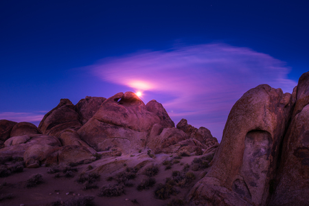 Alabama Hills Moon rise Lone Pine California USA Stock Photo
