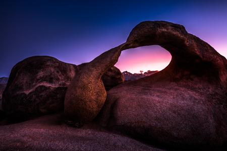 lone pine: Mobius Arch after Sunset Alabama Hills Lone Pine California USA