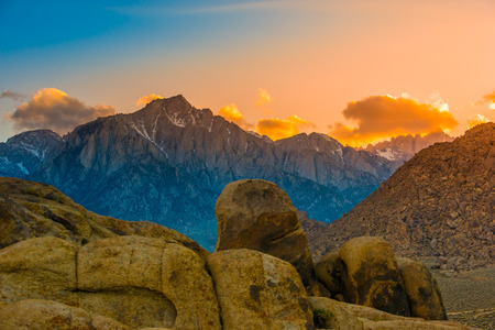 owens valley: Rock Formations of Alabama Hills Sierra Nevada Owens Valley Lone Pine California USA