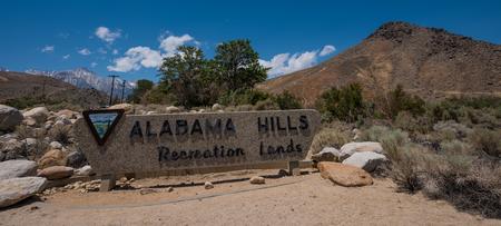 Alabama Hills Recreation Lands Entrance Sign Lone Pine California