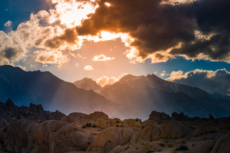 sierras: Sunset Sky Over the Sierras Alabama Hills California USA Stock Photo