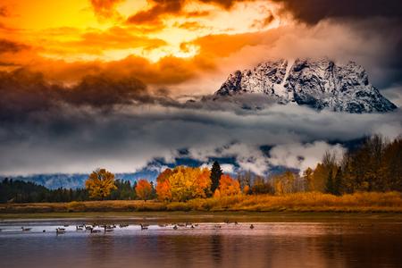 oxbow: Autumn in the Tetons Beautiful fall colors Cloudy Sunrise