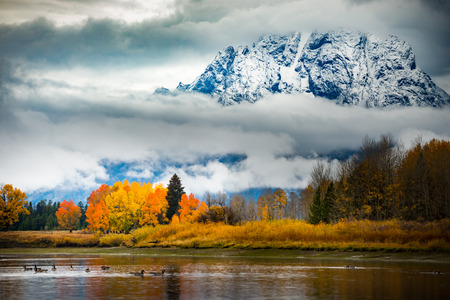 Autumn in the Tetons Beautiful fall colors and thick white clouds