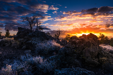 preserve: Cold Morning Sunrise Devils Orchard Trail Craters of the Moon National Preserve Idaho