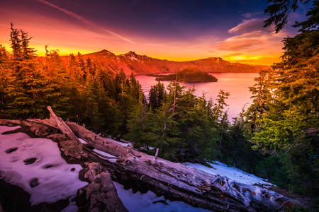 Crater Lake National Park Wizard Island and Watchman Peak Oregon at Sunset  Stock Photo