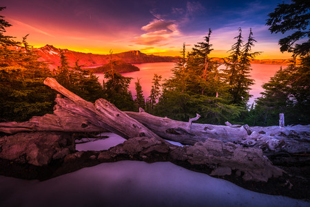 a watchman: Crater Lake National Park Wizard Island and Watchman Peak Oregon at Sunset  Stock Photo