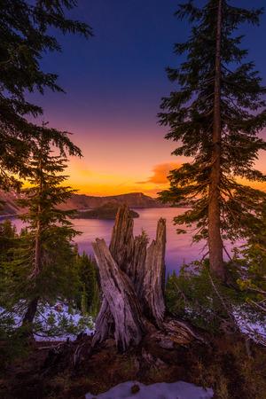 crater lake: Crater Lake National Park Oregon at Sunset Vertical Composition