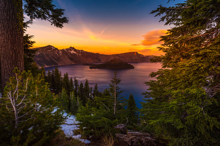 Crater Lake National Park Oregon at Sunset Wizard Island Watchman and Hillman Peaks  Stock Photo