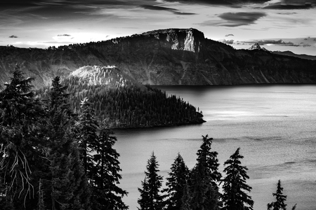 crater lake: Crater Lake National Park Oregon at Sunset Stock Photo