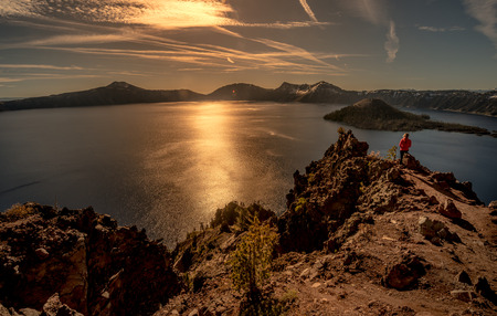 a watchman: Crater Lake as seen from Merriam Point with wizard island The Watchman and Hillman Peak Stock Photo