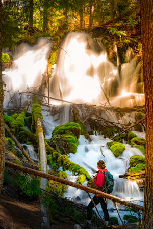 Oregon Tourist Backpacker Clearwater Falls Douglas County, Oregon Stock Photo