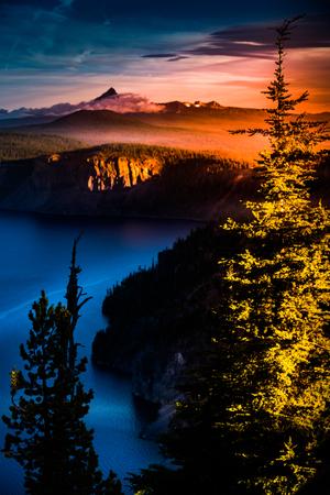 crater lake: Mt Thielsen at Sunrise Crater Lake National Park Oregon
