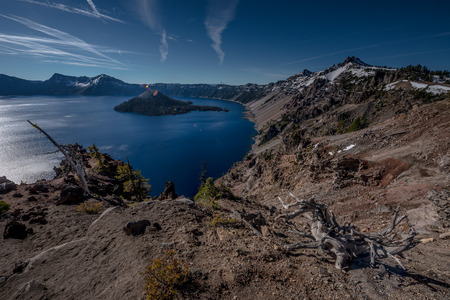 Crater Lake as seen from Merriam Point with wizard island The Watchman and Hillman Peak Stock Photo
