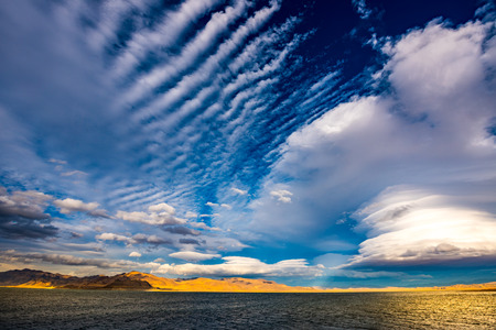 reno: Tamarack Bay Beautiful clouds over Pyramid Lake Nevada  Stock Photo