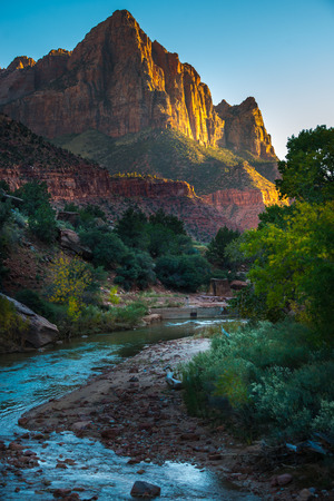 Zion National Park Fall Colors at Sunset Stock Photo