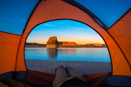 Tent Camping Lone Rock Campground Lake Powell Wahweap Bay Kane County Utah United States