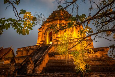 Wat Chedi Luang temple of the royal stupa Chiang Mai Thailand