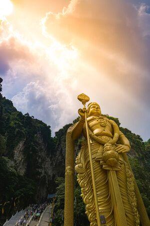 Sun Shining over Lord Murugan Statue Batu Caves Kuala Lumpur Malaysia