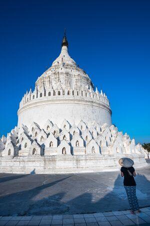 Woman Visits Hsinbyume Pagoda in Mingun Myanmar