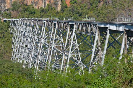 Goteik Viaduct over Gohtwin Stream - Single rail track bridge near Nawghkio western Shan State Myanmar
