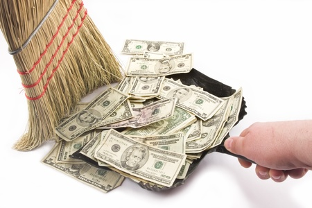Sweeping up Money  photo