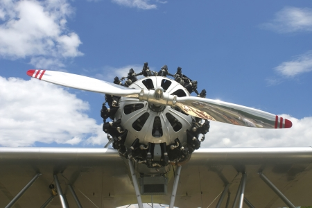 engine: Close-up of engine on antique seaplane  Stock Photo