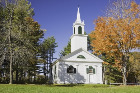 Old country church in fall Maine  photo