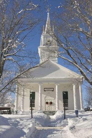 blue church: Country church in winter, Wiscasset, Maine