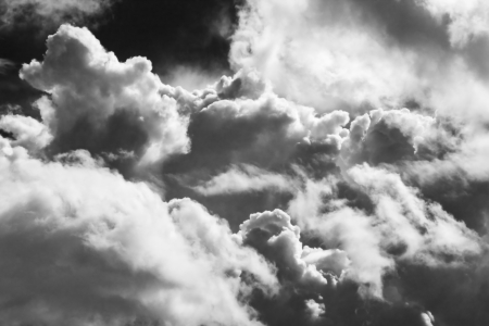 Black and white sky with building storm clouds