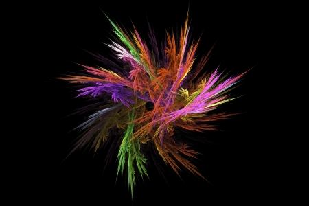 fractal flame: Digtal abstract fractal flower image on black background. Stock Photo