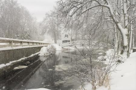 Snowstorm in Somesville on Mount Desert Island, Maine  Stock Photo