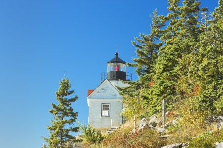 Bass Harbor Lighthouse in Autumn, Mount Desert Island Maine  photo
