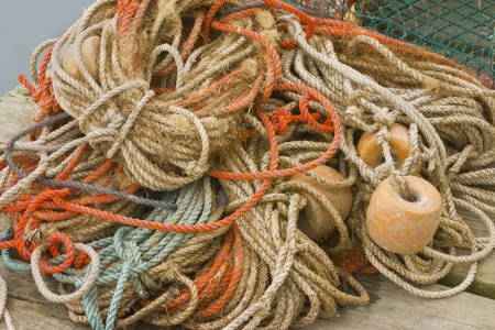 Tangled lobster fishing gear on dock in Maine  photo