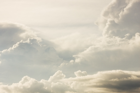 cloud formation: Puffy clouds and thunder heads building before storm.