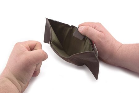 empty wallet: Angry because of an empty wallet. Stock Photo