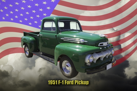 Green 1951 Ford F-1 pickup truck photo
