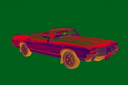 Classic pop art Oldsmobile Cutlass Supreme muscle car image