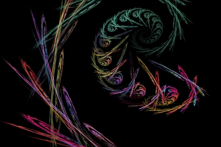 Psychedelic computer generated abstract fractal flame black background modern art  Stock Photo