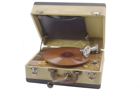 hand crank: Old hand crank phonograph record player