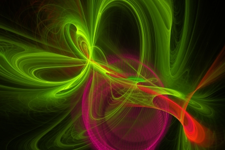 fractal flame: Computer generated green and red fractal flame on  black background  Stock Photo