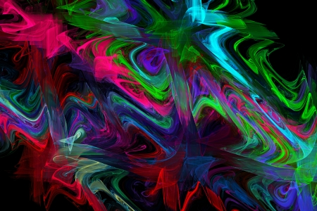 Computer generated blue pink and green abstract fractal flame black background  photo