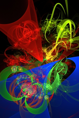 cosmic rays: Blue green and red abstract fractal flame on black background  Stock Photo