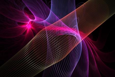 fractal flame: Generado por ordenador de color rosa y azul llama fractal abstracta sobre fondo negro