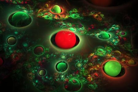 fractal flame: Generado por ordenador verde y rojo del planeta esferas de llama fractal