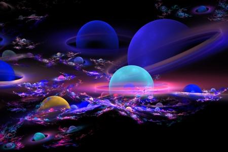 fractal flame: Planeta generada por ordenador Esferas llama fractal sobre fondo negro Foto de archivo